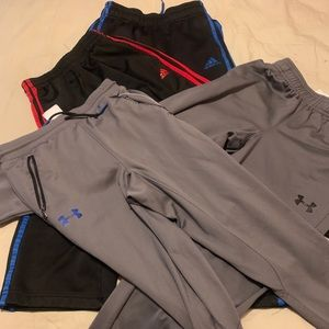 Boys M 4 pack of Adidas and Under Armor pants